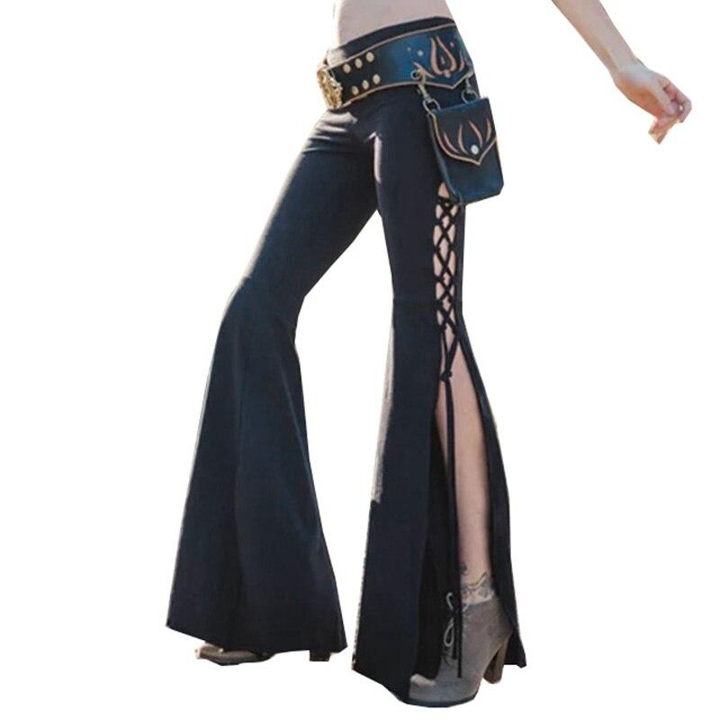 New Women Vintage Boho   Pants   Bell Bottom Lace Up Slit Side Solid Color Flared Flares Trousers Harajuku Streetwear   Wide     Leg     Pants