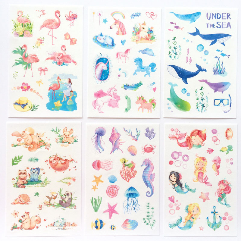 6Sheets/Pack Unicorn Stickers Cute Fairy Washi Stickers Adhesive Stickers For Children DIY Scrapbooking Diary Album Kids Toys