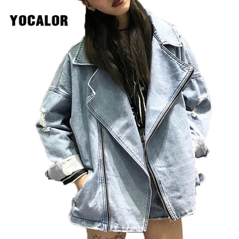 2018 Women Basic Denim Jacket Oversized Women Biker Jacket Female Jeans Coat Casual Vintage Jaqueta Feminina Outerwear Boyfriend