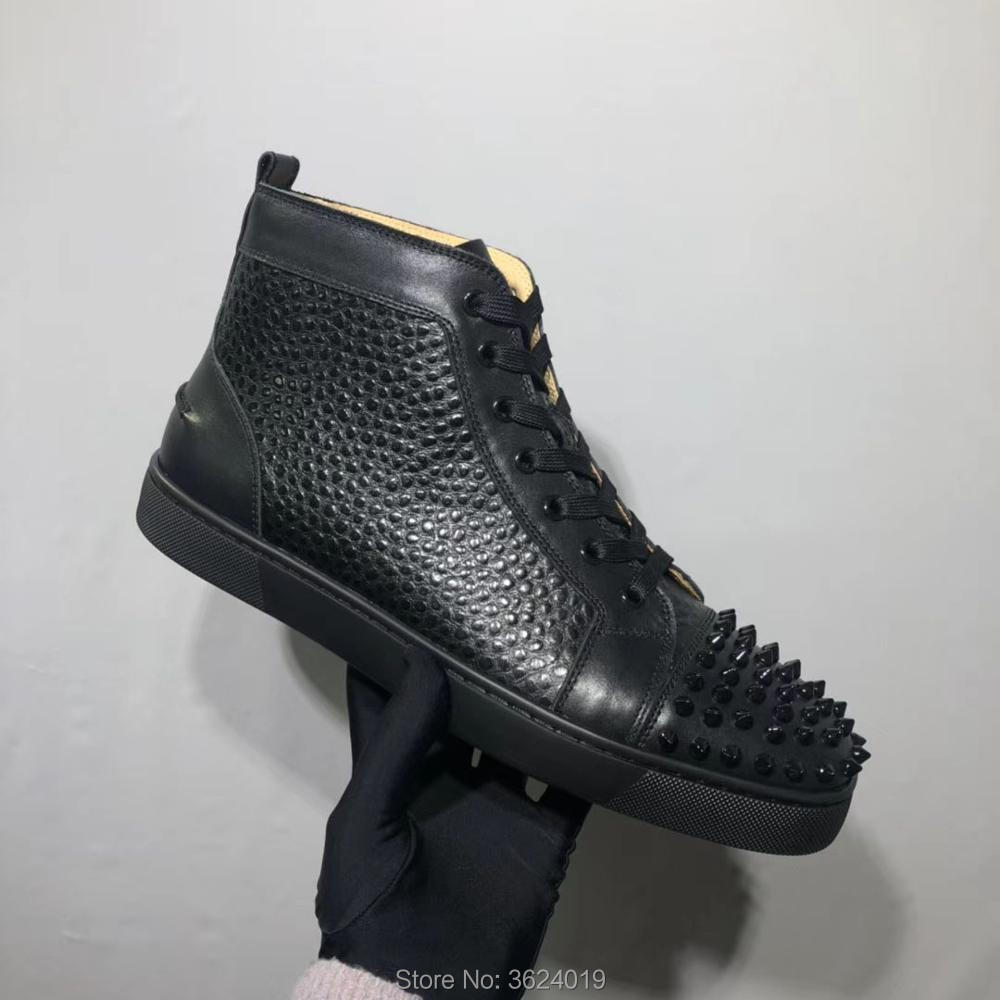 d6a51ab1600 High-Top cl andgz Cow leather Snake Python Black Rivets Round Toe Lace-Up