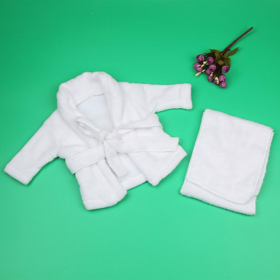 Gastvrij Caps Wit Baby Fotografie Props Badjas + Handdoek Pasgeboren Baby Schieten Foto Kostuum Bal 100% Hoogwaardige Materialen