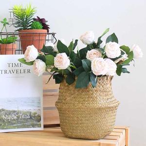 Image 4 - Foldable Storage Basket Creative Natural Seagrass Rattan Straw Wicker Folding Flower Pot Baskets Garden Planter Laundry Supplier