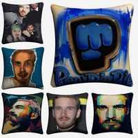 Madu Robearto Pewdiepie TV Show Cotton Linen Decorative Cushion Cover 45x45cm For Sofa Chair Pillow Case Home Decor Almofada