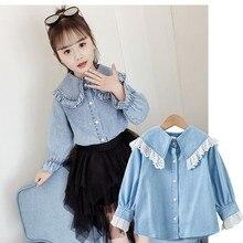 867f1265deed3 الجينز الطفل الفتيات البلوزات قمصان المدرسة الدنيم بلوزة فتاة الأزرق قمم  الربيع الخريف 2019 أزياء الأطفال
