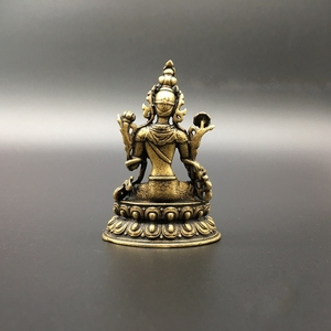 Image 2 - Collezione Cinese di Rame Intagliato Bodhisattva Tara Verde Statua di Buddha Squisita Piccole Statue