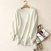 Shuchan свитеры для женщин для s плюс размеры 2018 Зима Новинки стильные, с круглым вырезом под горло свитер 100% кашемир свободный пуловер