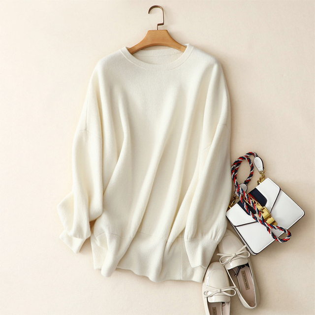 Shuchan Sweaters Womens Plus Size 2018 Winter Women New Fashion Crew Neck Sweater 100% Cashmere Women Loose Pullover Sweater