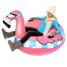 Alto elástico resistente al frío inflable de PVC de esquí Snowboard Flamingo patrón de dibujos animados de esquí Snowboard para hombres mujer niños