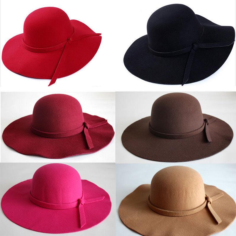 dd66122a131e2c Ladies Women Wool Floppy Felt Fedora Hat Wide Brim Sun Hat Vintage Style