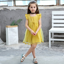 Kids clothes girls dress 2019 summer new cotton jacquard breathable mesh sleeveless children's clothing