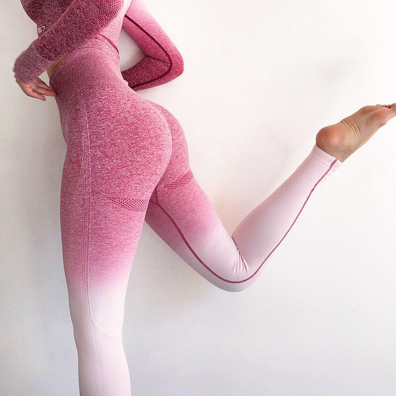 NORMOV Women Fitness Seamless Leggings High Waist  Hollow Fitness Legging Sporting Leggings Side Stripe Jeggings