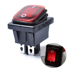 Rocker Toggle Switch On-Off-On 4 Pins 12V DC Car Boat Automobiles Waterproof LED Latching Switches (Red Light)(China)