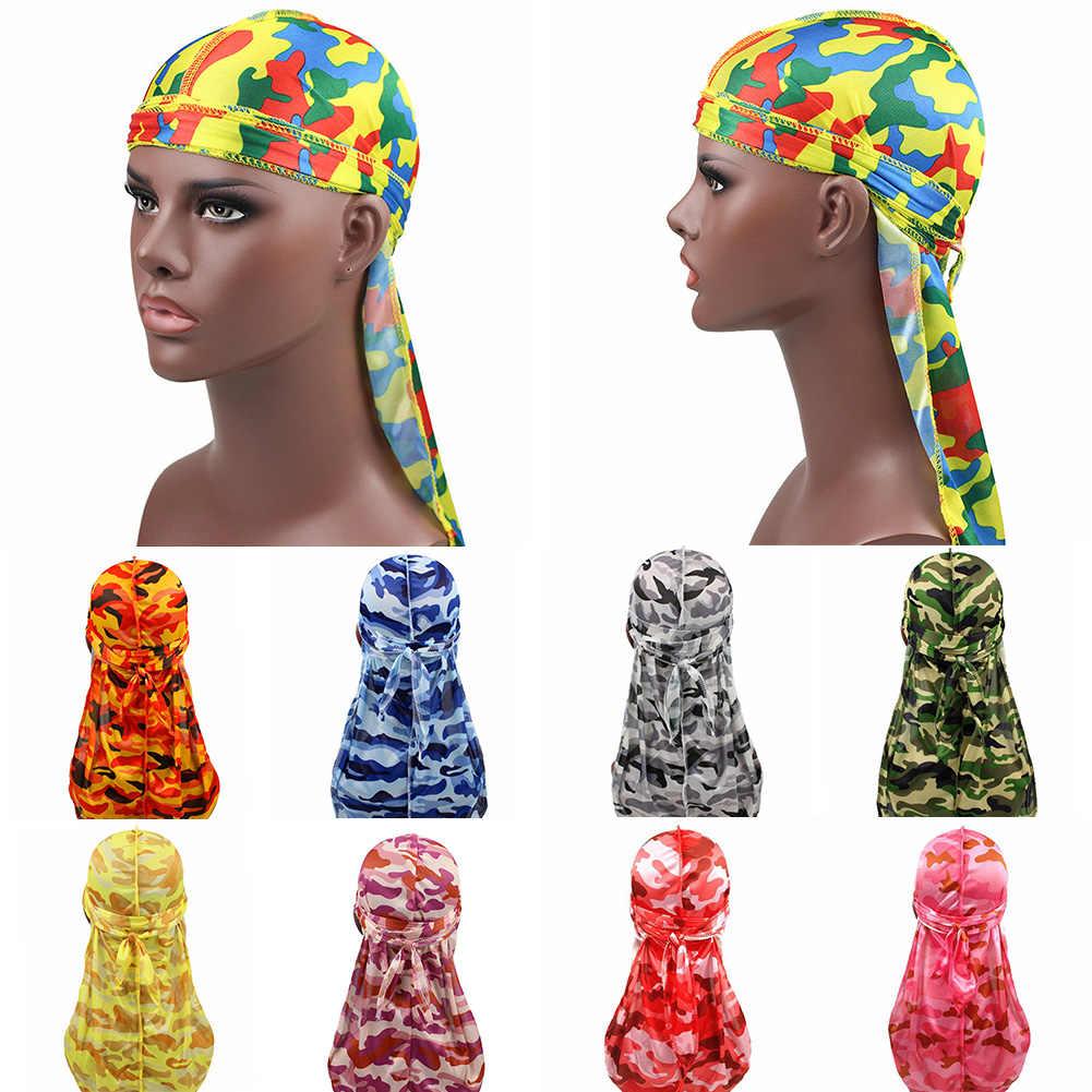 Wanita Pria Ekor Panjang Bandana Camo Halus Durags Sorban Cap Penutup Kepala Bandana Headband Topi Fashion Keren Fashion Hiasan Kepala Bandana