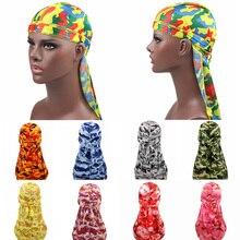Women Men Long Tail Bandanas Camo Silky Durags Turban Cap Head Cover Bandana Headband Hat Fashion Cool Headwear