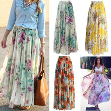 Floral Print Skirt Empire New Chiffon BOHO Ladies Tulle Skirt Womens Jersey Gypsy Maxi Full Long Skirt Summer(China)