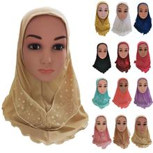 Muslim Kids Girls Turban Islamic Headscarf Mesh Scarf One Piece Children Wrap Shawl Beanies Skullies Neck Cover Bonnet Ramadan
