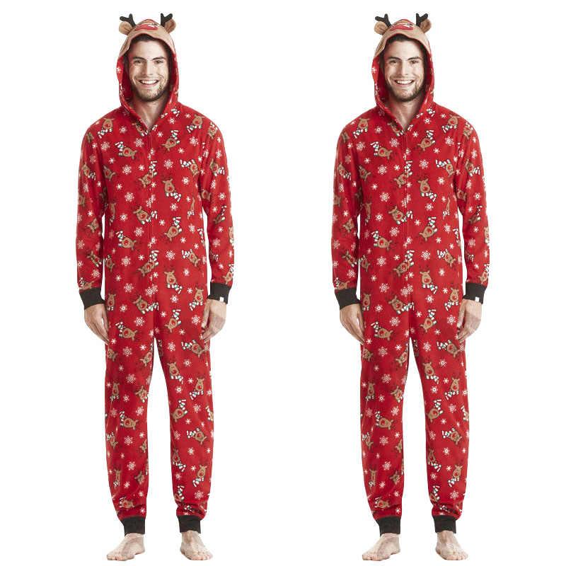 b75852675bae ... Рождественские пижамы для всей семьи, семейный комбинезон с принтом  оленя, Рождественская одежда для сна ...