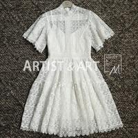 Высокое качество Белый Черный выдалбливают кружево платье 2019 Лето для женщин элегантный короткий рукав трапециевидной формы мини Вечерние