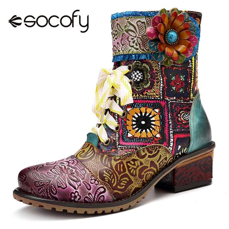 Socofy czeski Retro Cowgirl buty kobiety prawdziwej skóry łączenie rycerz buty zimowe damskie buty kobieta zamek zachodnie botki w Buty do kostki od Buty na  Grupa 1