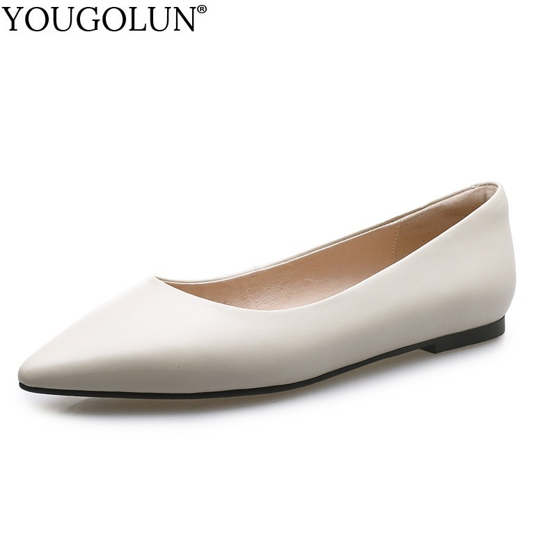 Women Flat Shoes Genuine Leather New 2019 Spring Casual Ladies Loafers Fashion Woman Black Beige Pointed