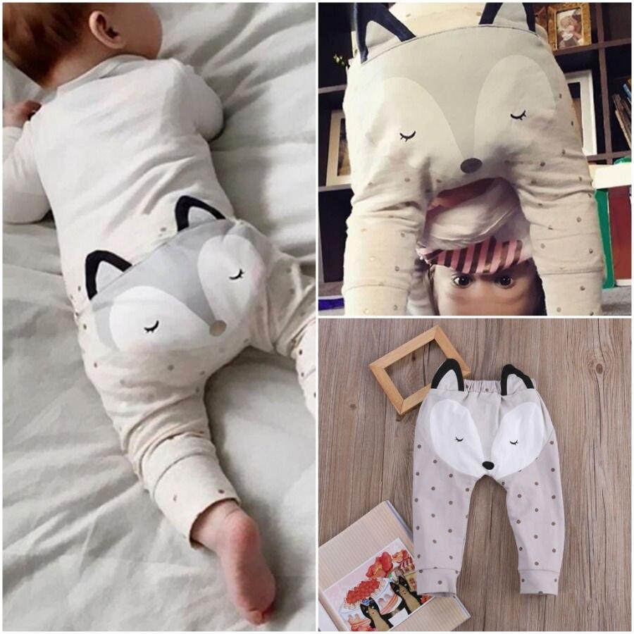 Pudcoco Baby Pants 0-24M UK Stock Newborn Baby Boys Girls Cartoon Bottom Pants Harem Panty Trousers