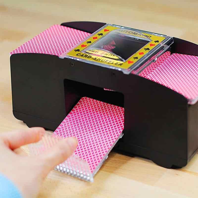 Gra planszowa automatyczne karty do pokera tasowanie drewniane elektryczne gry tasowanie maszyna prezent zabawna gra rodzinna do klubu na imprezę akcesoria