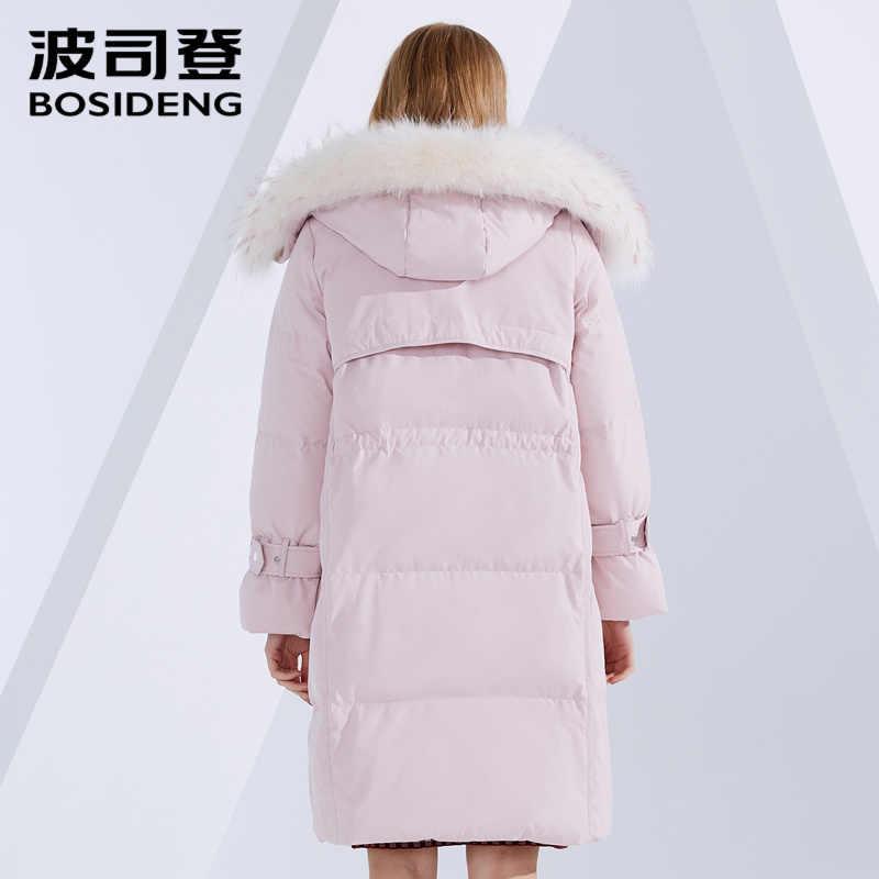 BOSIDENG, зимний пуховик, длинный пуховик, женский, с капюшоном, натуральный мех, воротник, утолщенная верхняя одежда, высокое качество, B80141540DS