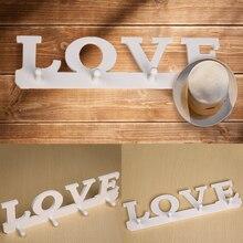 4 Hooks Vintage White LOVE Hook Hanger Robe Hat Bag Key Holder Wall Hanger(1PCS)