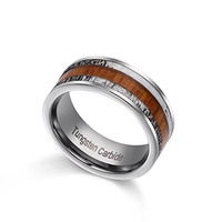 2019 Trendy 8mm Width Tungsten Carbide for Man inlay Natural Wood and Two Pcs Deer Antler for Hunting Rings Comfort Fit 6 13