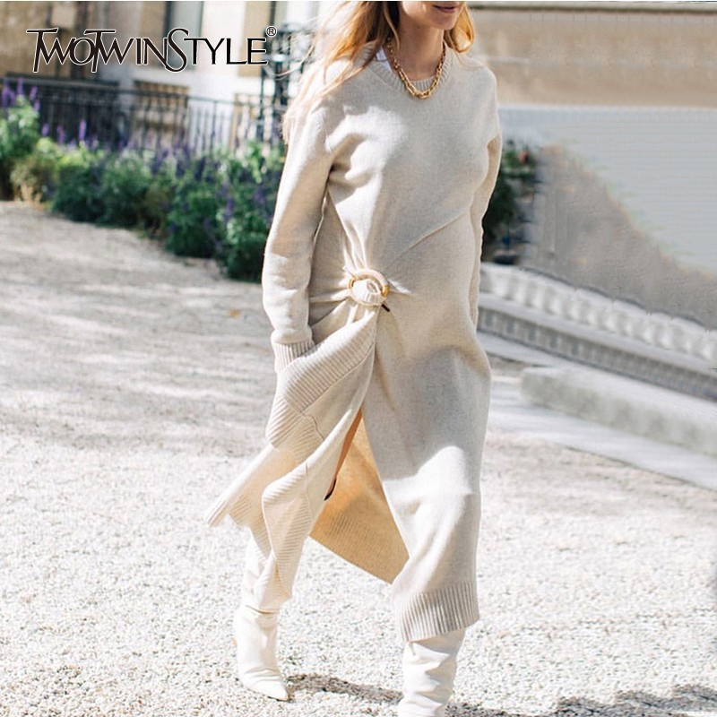 TWOTWINSTYLE Knitting Wool Maxi Dress Female Long Sleeve Asymmetrical Hem Split Women s Dresses Autumn Casual