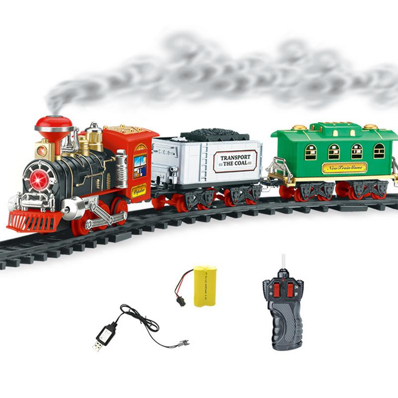 Electric Track Christmas track train Classic Steam Train suit with Real Smoke Authentic Lights and Sounds for kids New year gift