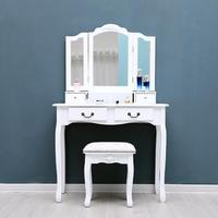 Tri Folding Mirror Furniture Dressing Table Makeup Desk 4 Drawers with Stool for Women Girl Friend Gifts Home Decoration