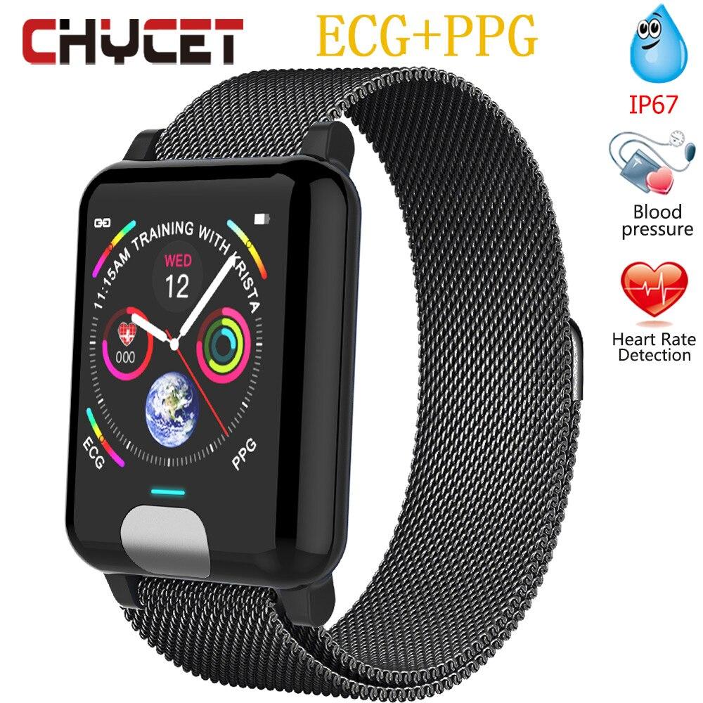 Bracelet intelligent ECG PPG montre mesure de la pression artérielle étanche Ip67 femmes Fitness Tracker montre moniteur de fréquence cardiaque hommes-in Bracelets connectés from Electronique    1