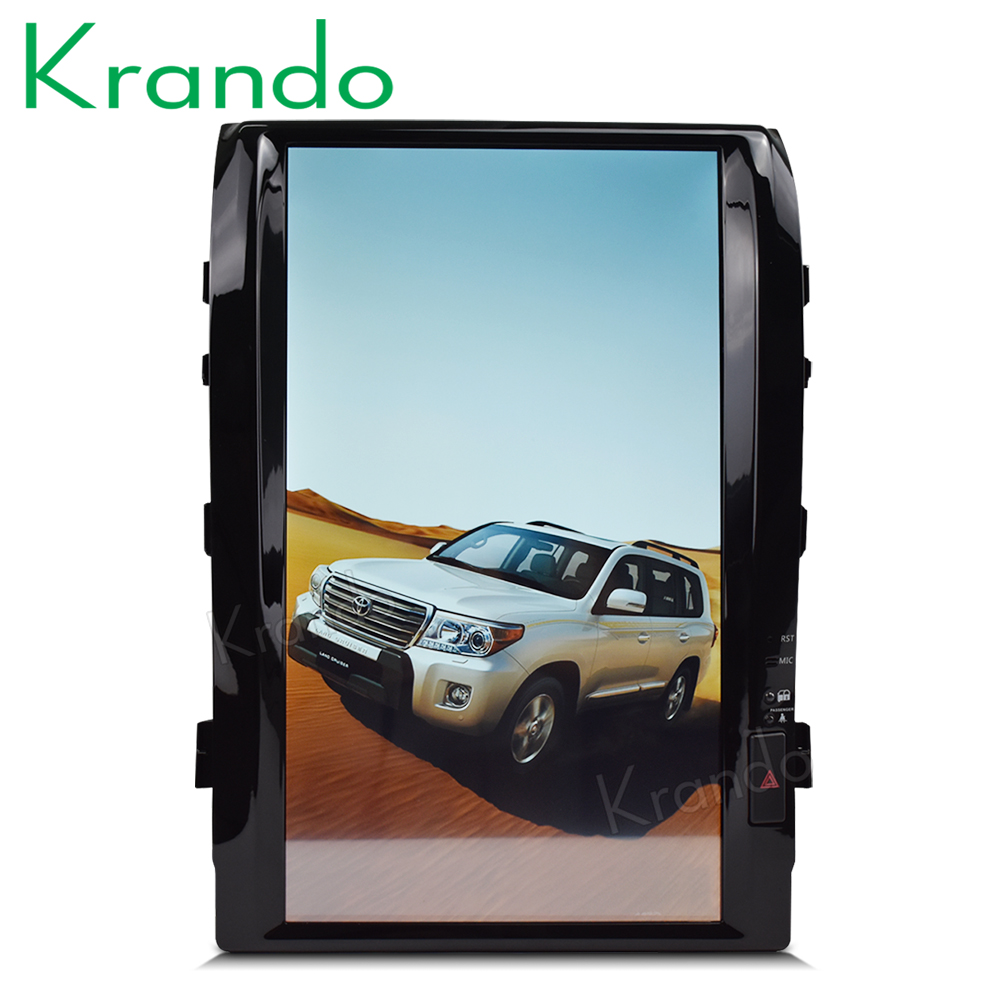 Krando car android 6 0 16 Tesla style Vertical screen navigation for Toyota Land Cruiser 200