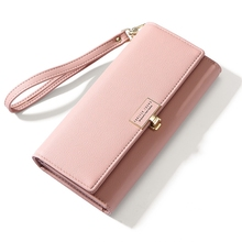 купить Wallet Female Long Fashion Mobile Phone Wallet Large Capacity Clutch Bag Ladies Wallet Europe And United States Big Pu Leather по цене 422.39 рублей