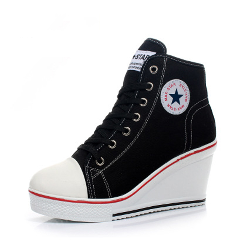 STAN SHARK Women Wedges Shoes High Top Pumps Women Casual Shoes Female Height Increasing Platform Women Canvas Shoes Top Quality