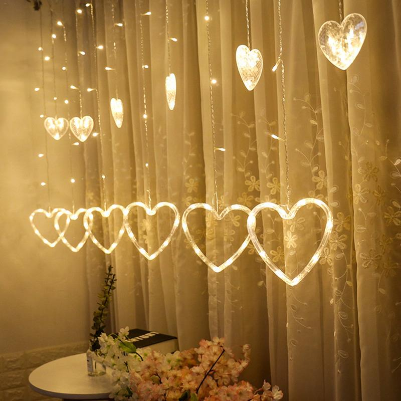 1PCS 220V EU Plug Curtain String Light Heart-shaped LED String Lights Christmas Wedding Party Decoration Led Fairy Light String