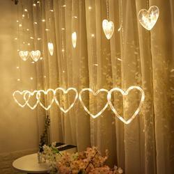 1 pçs 220 v ue plug cortina string luz em forma de coração led string luzes de natal festa de casamento decoração led luz de fadas
