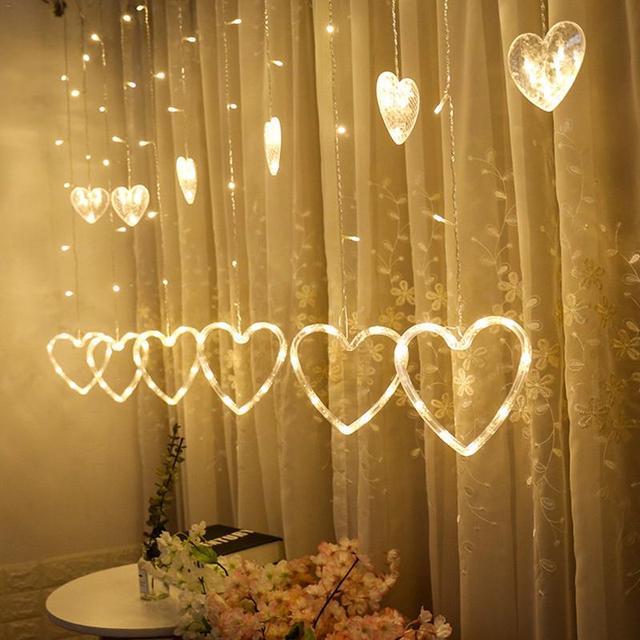 1PCS 220V EU plug Curtain String Light Heart-shaped LED String Lights Christmas Wedding Party Decoration Led Fairy Light String