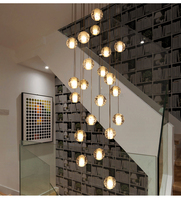 10cm Glass Crystal Ball Chandelier LED Luxury Crystal Lamp Pendant Lamp Hanging Interior Ladder Corridor stairs Lamp