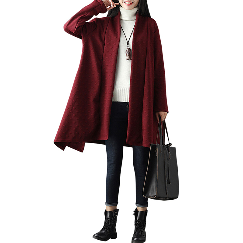 Casual Women Cardigan Open Front Long Sleeve Solid Loose Irregular Long Outerwear Coat Fashion Heart-shape Texture   Trench   Coat