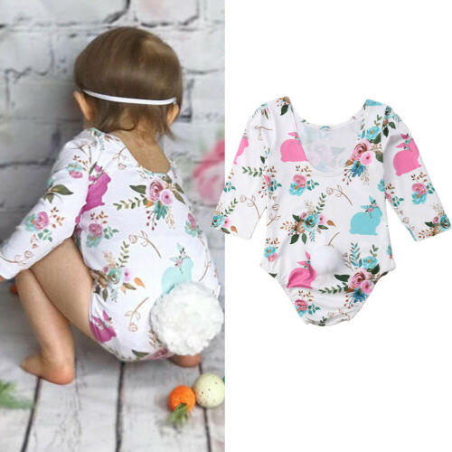 Bowknot Playsuits Easter Bunny Baby Girls Romper Bunny Bodysuit Floral Jumpsuit