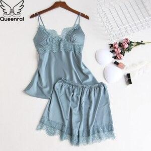 Image 4 - Queenral Silk piżama kobiety 5 sztuk zestawy Sexy koronkowa kobieta satynowa piżama lato Pijama Sexy Mujer bielizna nocna dla kobiet klatki piersiowej klocki