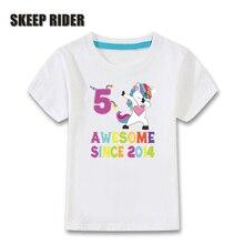 Birthday Party Clothing Unicorn T Shirt Toddler Kids Little Girls Short Sleeve Children Tshirt Summer T-Shirts