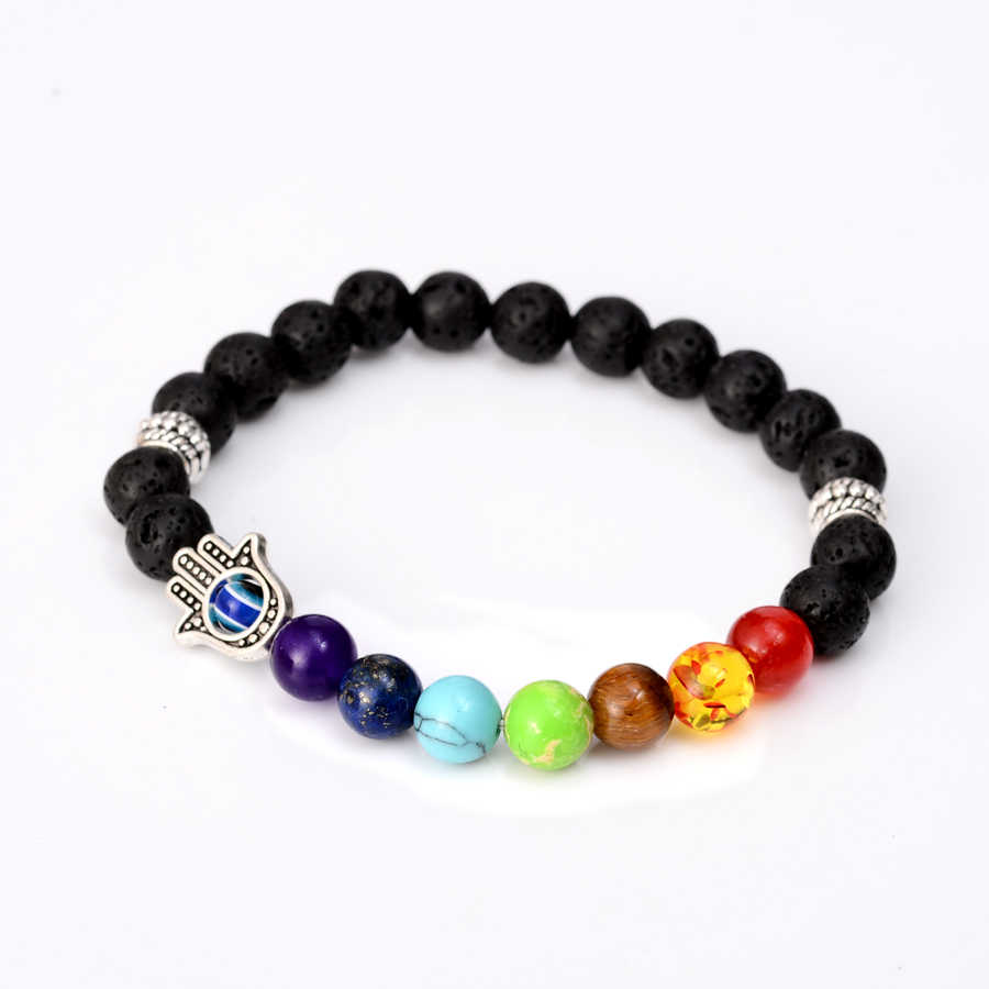7 Чакра браслет эфирные масла диффузор Лава целебный баланс бусины рейки Будда из натурального камня Йога лев браслет для женщин и мужчин