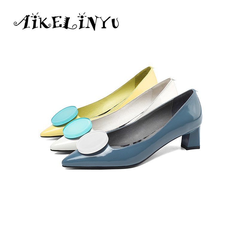 AIKELINYU Fashion Yellow Pointed Toe Low-heel Pumps  Sexy Genuine Leather Party Women Shoes Shallow Office Lady