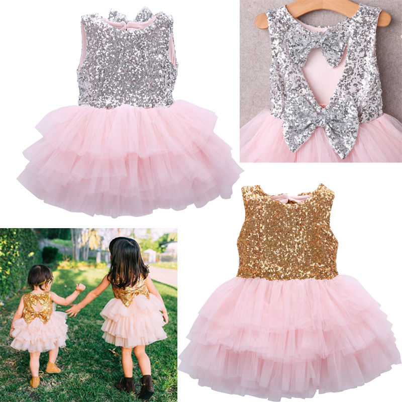 Bow-knot Sequin Baby Girl Christmas Dress Infant Baby Sleeveless Baptism tutu Gown Kids Dresses for Girls Party Clothing SizeBow-knot Sequin Baby Girl Christmas Dress Infant Baby Sleeveless Baptism tutu Gown Kids Dresses for Girls Party Clothing Size