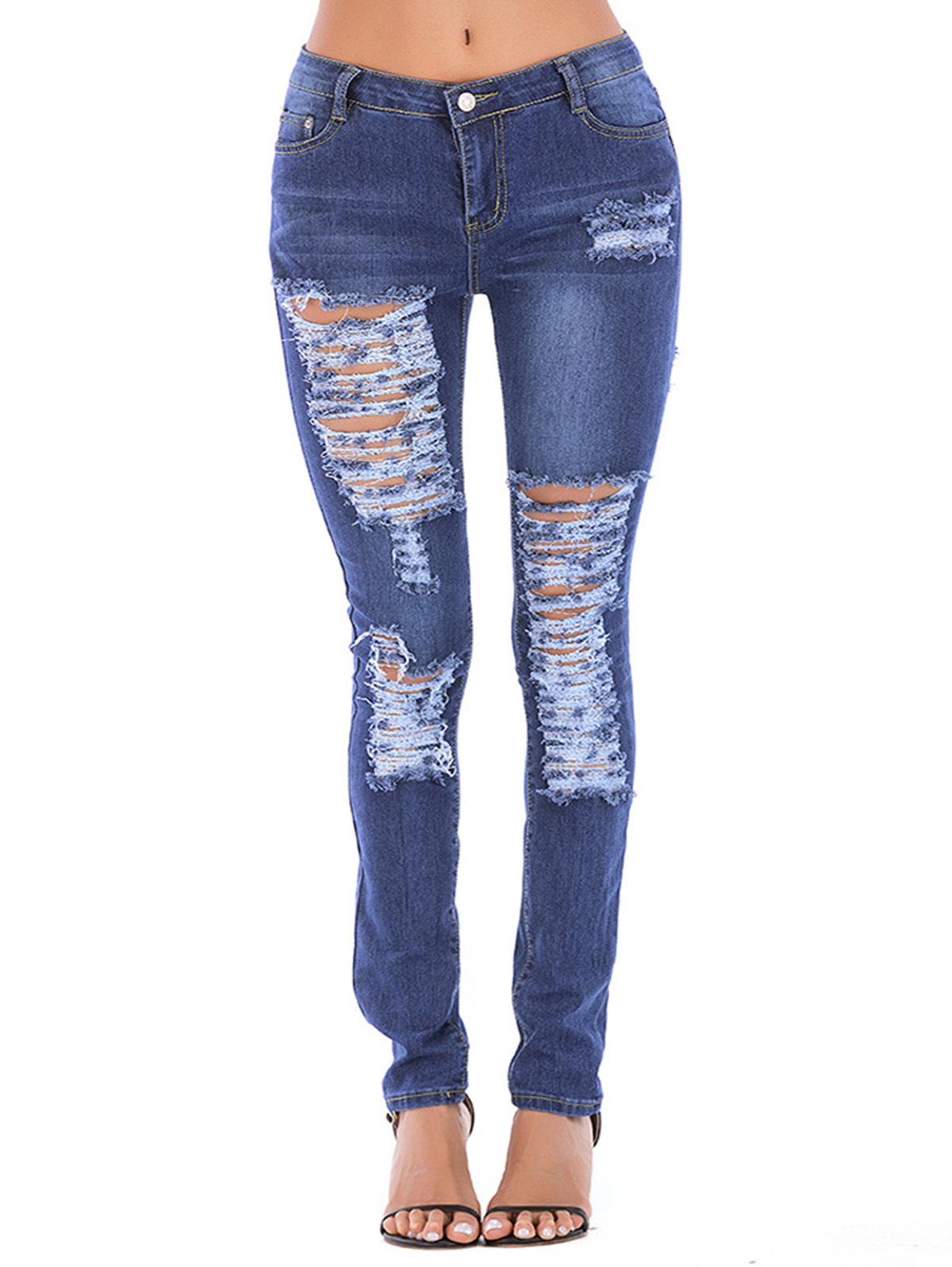 Wipalo Women Juniors Distressed Slim Fit Stretchy Skinny Denim Jeans Ladies Holes Destroyed Casual Trousers Ripped Pants 3XL
