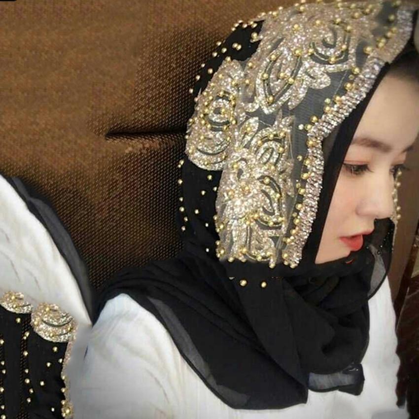 70*180cm Muslim Ethnic Traditional Costumes Accessories Hijab Head Scarf Beading Chiffon Luxury Shawl Islamic Underscarf Turban