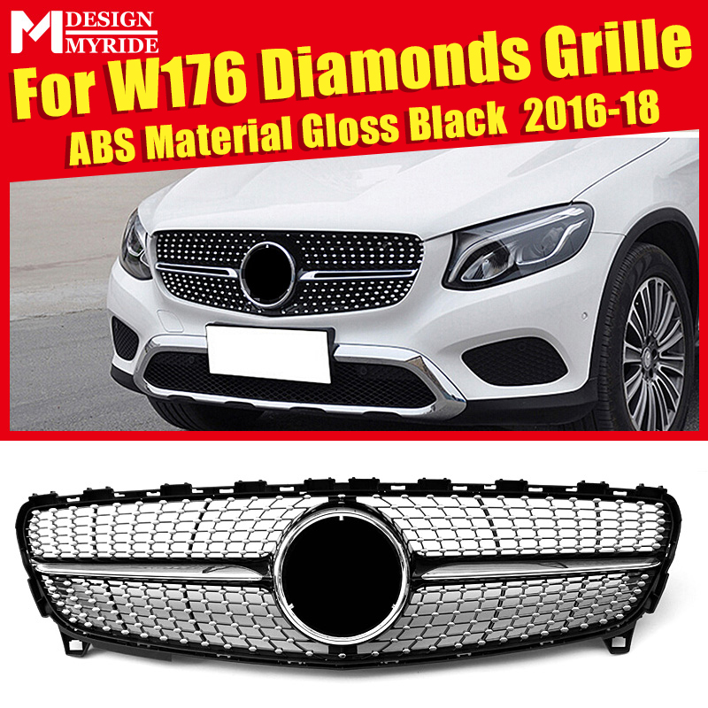 W176 Grille Diamonds ABS Material Black Without Sign Front Bumper Kidney Grills Fits For W176 A180 A200 A250 Front Mesh 2016-18W176 Grille Diamonds ABS Material Black Without Sign Front Bumper Kidney Grills Fits For W176 A180 A200 A250 Front Mesh 2016-18